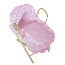 Beautiful Dolls Moses Basket Broderie Anglaise Pink (Basket Only)