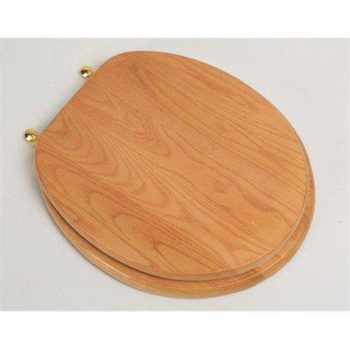 Designer Solid Round Oak Wood Toilet Seat with Polished Brass Hinges, Natural Red Oak