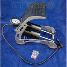 Heavy Duty Double High Pressure Foot Pump w Hose & Adapters for Car, Van Bike
