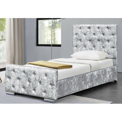 Palma Crushed Velvet Diamante Chesterfield Bedframe with Lucy Mattress