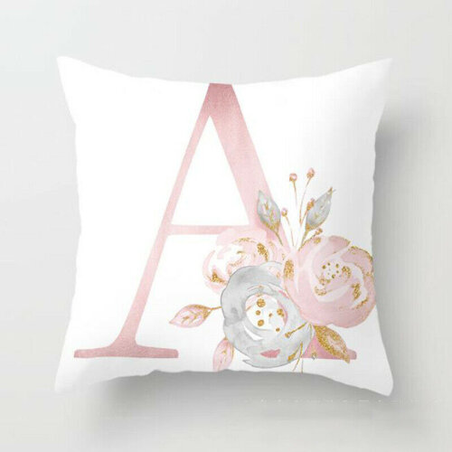 (Pink A) Rose Gold Pink Alphabet Letters Cotton Cushion Cover Pillow Case Throw House