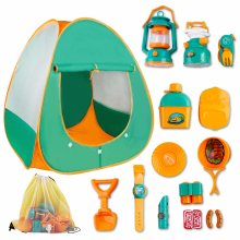 deAO Pretend Play Camp Set Survival Kit with Large Tent and 18 Camping Toy Tool Accessories - Outdoor Toy for Children to Explore the Wilderness