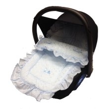Broderie Anglaise Car Seat Footmuff / Cosy Toes Compatible with Besafe Blue