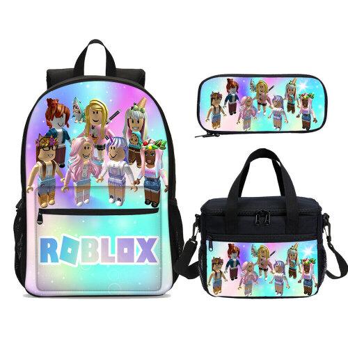 3Pcs Girls Rainbow Roblox Backpack Lunch Bag Pencil Case Schoolbag