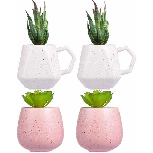 4 pots of artificial succulents-fake succulents artificial cactus plant decoration