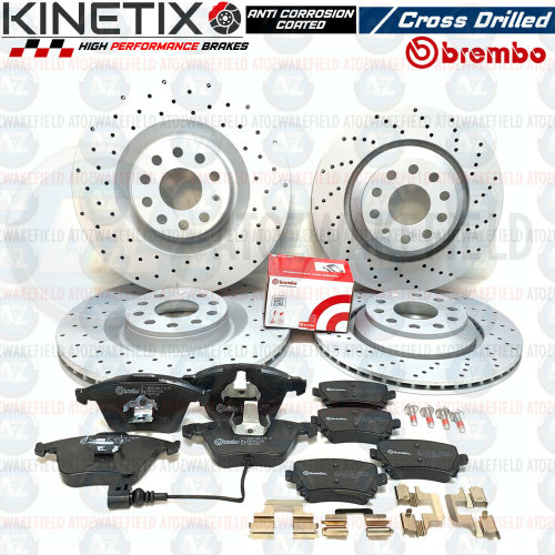 FOR AUDI S3 FRONT REAR CROSS DRILLED PERFORMANCE BRAKE DISCS BREMBO PADS SET