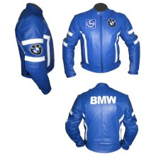 BMW Cowhide Leather Motorcycle Riders Racing Jacket Motorbike Biker Sports Coat New , Protective For Men, Blue