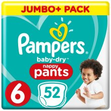Pampers Baby-Dry Nappy Pants Disposable Cotton Nappies - Size 6 - Jumbo+ 52 Pack