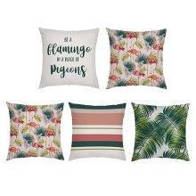 Flamingo Print Garden Scatter Cushion Cover Set
