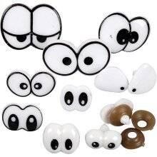 An assortment of funny eyes fitted with fastener - pack contains 9
