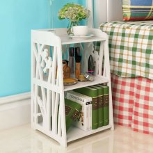 Bedside Table Cupboard Nightst and Storage Organizer Shelving Rack
