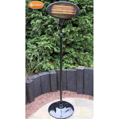 2000w Free Standing Outdoor Electric Pedestal Patio Heater in Black