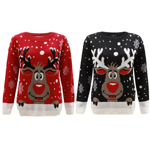 Women Ladies Knitted Long Sleeve Xmas Reindeer Rudolf Christmas Jumper Sweater Pullover