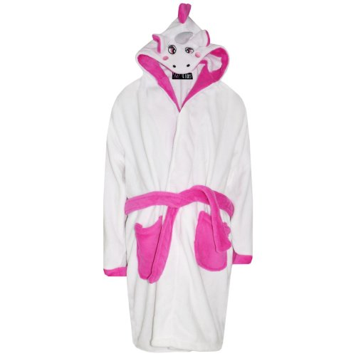 Kids Girls Bathrobe 3D Animal Unicorn Dressing Gown Lush Fleece Night Loungewear