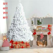 Artificial Christmas Tree Traditional Gift Bushy Home Decoration 150-240cm White With Metal Stand