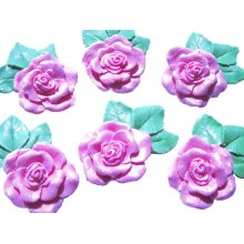 6 Large Glittered Roses with leaves Birthday Wedding Cake Decorations