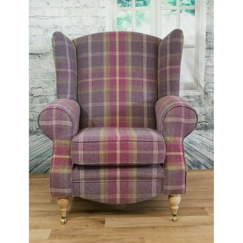 Wing Back Queen Anne Cottage Chair Balmoral Amethyst Tartan Light Legs