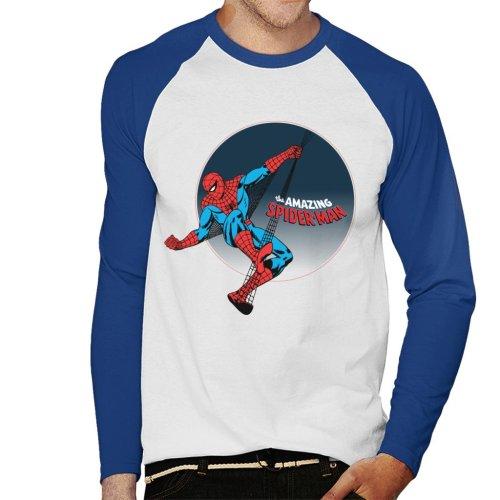 Marvel The Amazing Spider Man Web Swing Badge Design Men's Baseball Long Sleeved T-Shirt