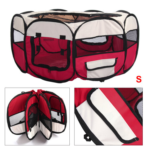 (Red) Modern Foldable Pet Cage Puppy Playpen