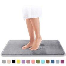 Genteele Memory Foam Bath Mat Non Slip Absorbent Super Cozy Velvet Bathroom Rug Carpet (20 inches X 32 inches Gray)