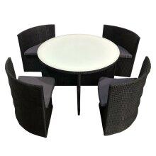 Rattan Garden Dining Set Round Table Space Saving - 5 Piece