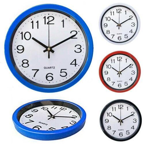 "8"" Classic Round Wall Clock Silent Sweep Movement Home Bedroom Kitchen Room Decor"