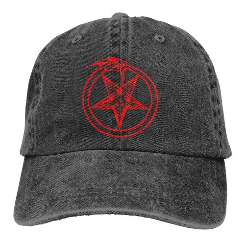 Pentagram Satan Denim Baseball Caps