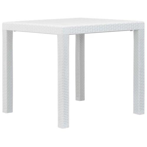 vidaXL Garden Table White 79x79x72cm Plastic Rattan Look Outdoor Furniture