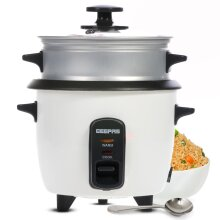 Geepas 0.6L Rice Cooker with Steamer   350W   Non-Stick Inner Pot