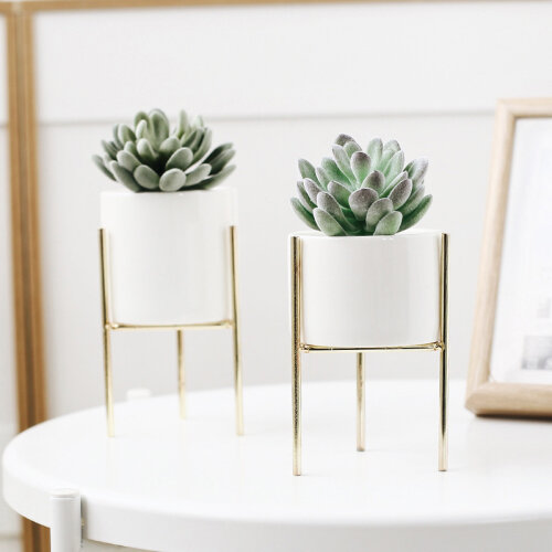 (Gold, Low) 16.5cm Geometric Plant Pot & Stand | Plant Stand