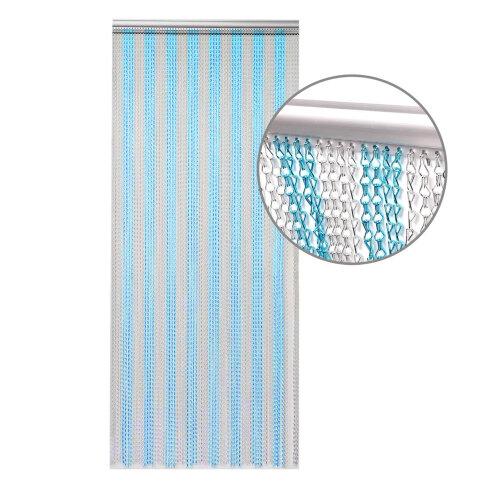 (Blue Silver) 214 x 90cm Aluminium Chain Curtain Insect Blinds