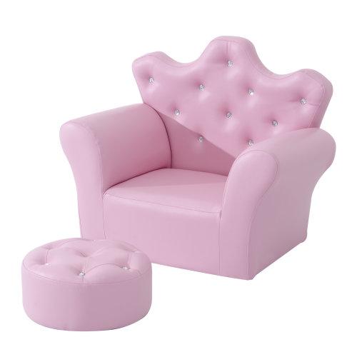 Homcom Children's Pink Princess Armchair & Footstool Set