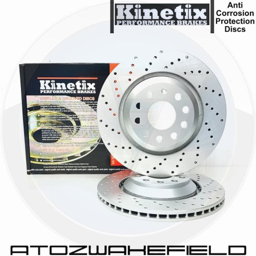 FOR PORSCHE 911 CARRERA 3.4 REAR KINETIX CROSS DRILLED BRAKE DISCS PAIR 299mm