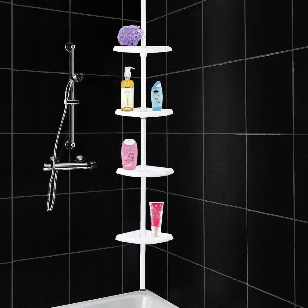 4 Tier Adjustable Telescopic Corner Shower Caddy Bathroom Shelf Organiser White On Onbuy