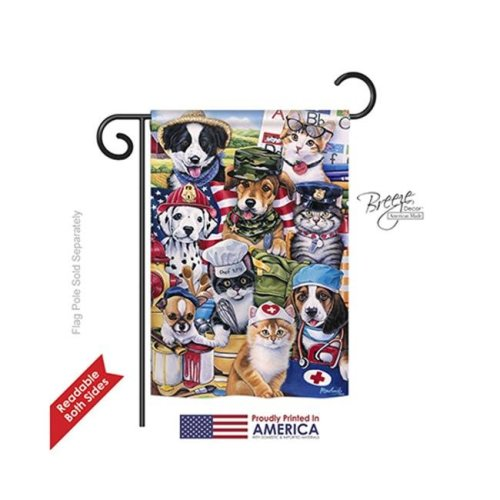 Breeze Decor 60081 Pets Working Paws 2-Sided Impression Garden Flag - 13 x 18.5 in.