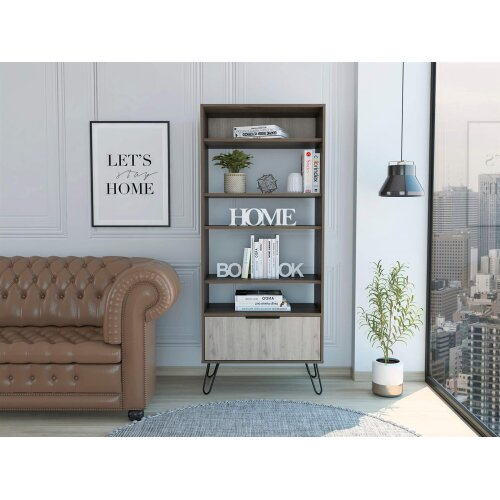 Tall Bookcase 5 Tier Display Cabinet 1 Door Storage Cupboard Dark Grey Oak