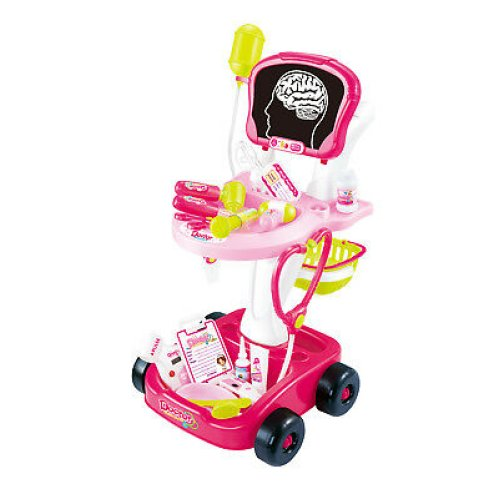 22 PIECE PINK DOCTORS NURSES ROLE PLAY MEDICAL TROLLEY TOY LIGHTS SOUNDS 660-43