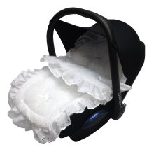 Broderie Anglaise Car Seat Footmuff / Cosy Toes White