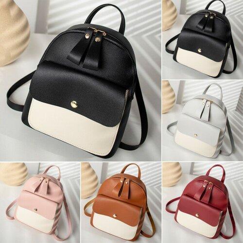 Women School Bag PU Leather Backpack Mini Rucksack