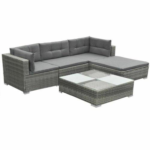 5pc vidaXL 42741 Rattan Garden Lounge Set - Grey | 4 Seater Rattan Sofa Set