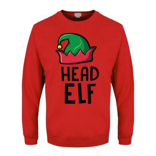 Grindstore Mens Head Elf Christmas Jumper