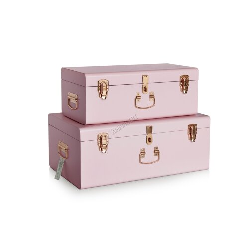 (Pink) WestWood Metal Storage Trunks Set 2PC Toy Box Chest Suitcase Vintage Lockable