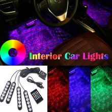 Car Interior LED Lights USB with Remote Control RGB Decor Lamp