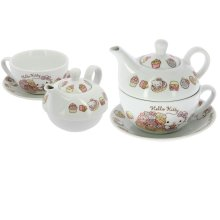 Hello Kitty Tea for One Set with Cup, Saucer and Teapot
