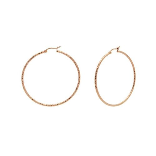 Fronay 155110P Rose Gold Diamond Cut Hoop Earrings in Sterling Silver, Medium
