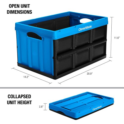 CLEVERMADE COLLAPSIBLE CRATE 46 L - SPACE SAVING STORAGE FOLDING BOX BIN FLAT PK