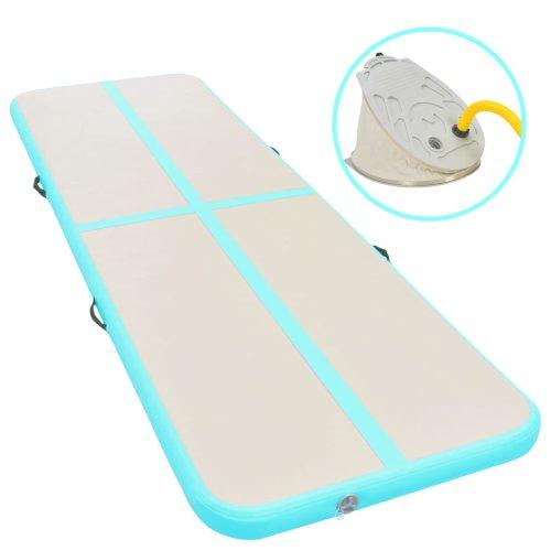 vidaXL Inflatable Gymnastics Mat with Pump 300cm PVC Green Exercise Gym Carpet