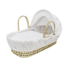 White Broiderie Anglaise Dolls Basket Toy