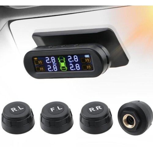 Solar Power Sensor Temperature Car Tire Pressure Monitor System