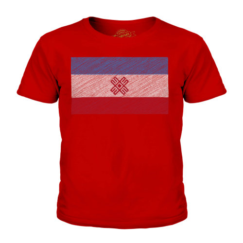 (Red, 3-4 Years) Candymix - Mari El Scribble Flag - Unisex Kid's T-Shirt
